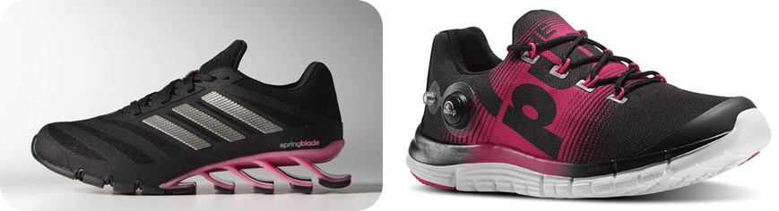 10 Growing Fitness Wear Trends For Women Adidas springblade ignite & Reebok zpump fusion