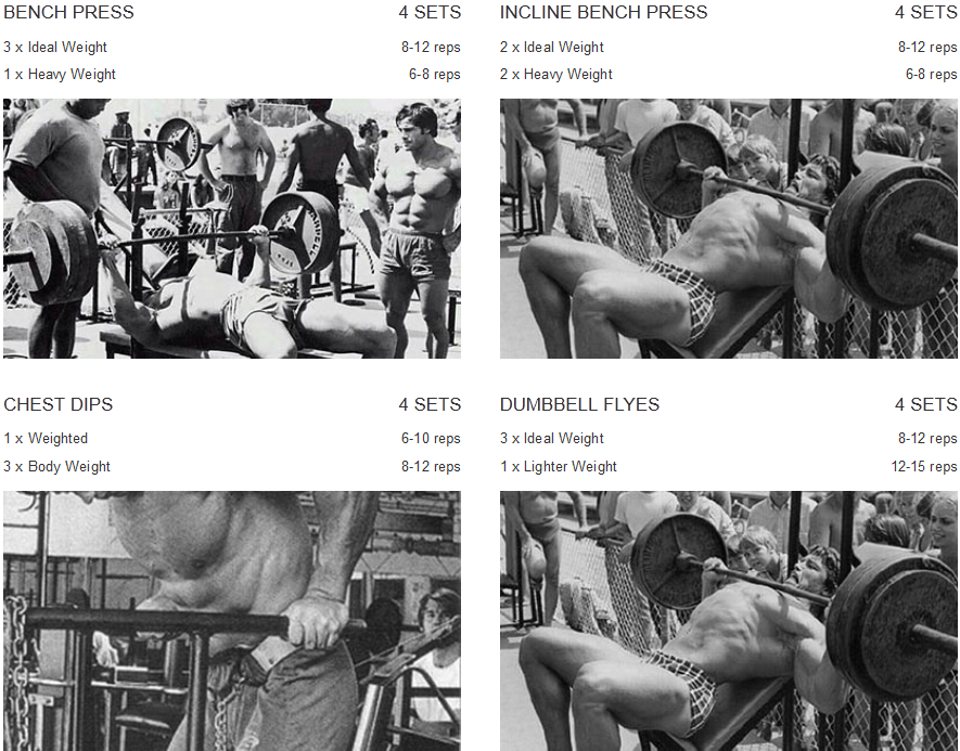 Arnold-Schwarzenegger-chest-workout-routine
