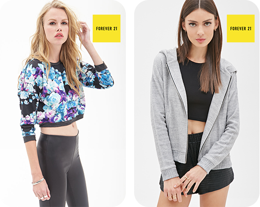Boxy-Floral-Knit Sweatshirt-&-Textured-Knit Hoodie-From forever21