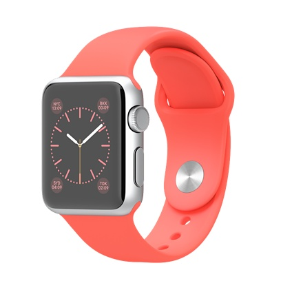 38mm Silver Aluminium Case with Pink Sport Band